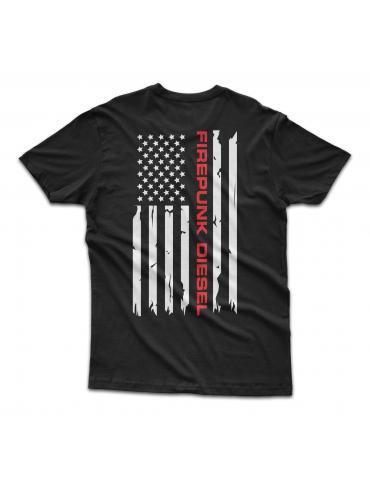 Black Firepunk American Flag T-Shirt