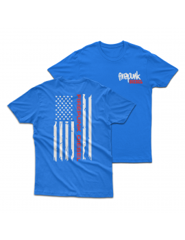 Blue Firepunk American Flag T-Shirt